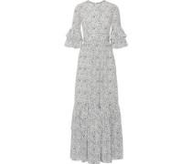 Ruffled floral-print silk crepe de chine maxi dress