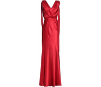 Draped fluted silk-satin gown