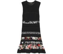 Paneled open-knit and floral-print satin mini dress