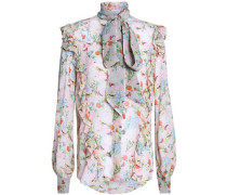 Pussy-bow silk-georgette blouse