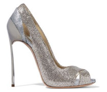Cutout Two-tone Glittered Metallic Woven Pumps Platinum