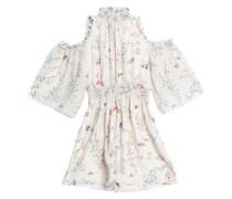 Cold-shoulder floral-print silk crepe de chine mini dress