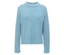 Woman Pointelle-trimmed Ribbed Wool And Yak-blend Sweater Blue