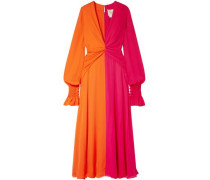 Two-tone Gathered Silk-georgette Maxi Dress Bright Orange Size 0