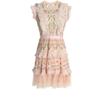 Ruffled Tiered Embroidered Tulle Mini Dress Pastel Pink Size 12