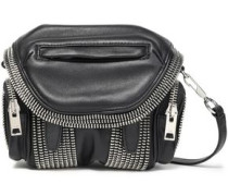 Marti Zip-embellished Leather Shoulder Bag Black Size --