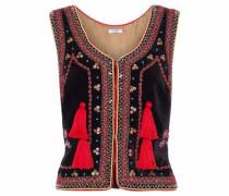Embellished velvet vest