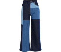 Cropped patchwork high-rise wide-leg jeans
