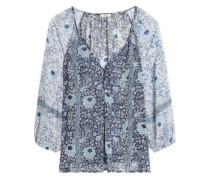 Paneled floral-print silk-georgette blouse