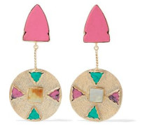 Gold-tone, resin, and stone earrings