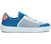 Mesh And Neoprene Slip-on Sneakers Blue