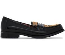 Eyelet-embellished Patent-leather Loafers Black