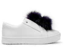 Leya faux fur-trimmed leather slip-on sneakers