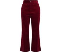 Faux Leather-trimmed Cotton-corduroy Kick-flare Pants Merlot Size 0
