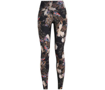 Mesh-trimmed printed stretch leggings