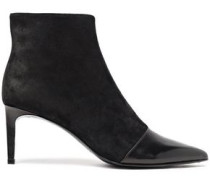 Suede And Leather Ankle Boots Black