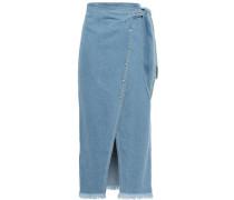 Opal Frayed Denim Midi Wrap Skirt Mid Denim