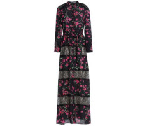 Lace-paneled printed crepe maxi dress