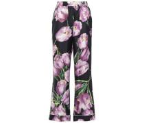 Floral-print Silk-satin Twill Wide-leg Pants Black