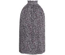 Shirred leopard-print silk top