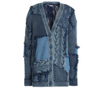 Patchwork cable-knit cotton and denim cardigan