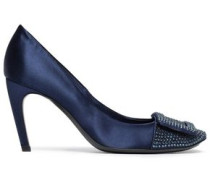 Crystal-embellished Satin Pumps Navy