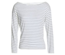 Striped modal and silk-blend jersey top