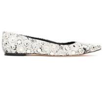 Embellished Snake-effect Leather Ballet Flats White
