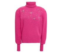 Woman Holley Embellished Wool And Cashmere-blend Turtleneck Sweater Fuchsia