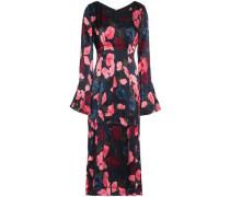 Fluted floral-print silk-satin midi dress