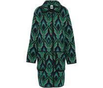 Metallic Wool-blend Jacquard Coat Emerald