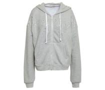 Crystal-embellished Mélange Cotton-blend Hooded Jacket Light Gray