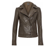 Leather Biker Jacket Army Green