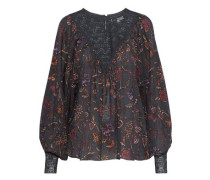 Alina Lace-paneled Floral-print Cotton-gauze Blouse Black