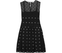 Eyelet-embellished embroidered silk-organza mini dress