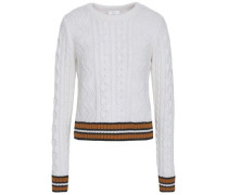 Alpha Striped Merino Wool-blend Sweater White