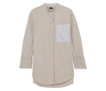 Callen Pinstriped Cotton-poplin Shirt Sand