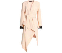 Studham lattice-trimmed wool-crepe wrap jacket