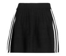 Striped stretch ribbed-knit mini skirt