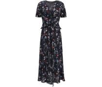 Woman Elodie Floral-print Crepe Peplum Midi Dress Black