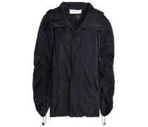 Gathered shell hooded jacket