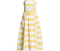 Cutout striped cotton-canvas midi dress