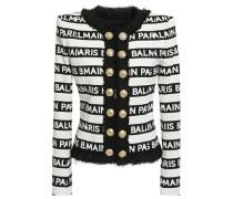 Woman Embellished Bouclé-trimmed Logo-print Cotton-blend Jacket Off-white