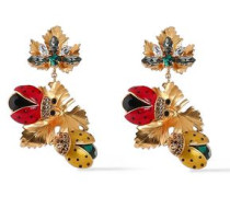 Gold-tone, Crystal And Enamel Clip Earrings Gold Size --