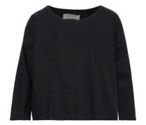 Cropped Cotton-poplin Top Black