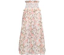 Shirred Floral-print Linen And Silk-blend Midi Skirt Peach Size 0