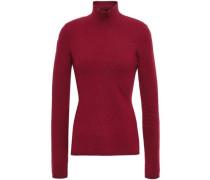 Marled Slub Knitted Turtleneck Sweater Merlot Size 1