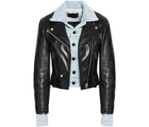 Layered Denim And Leather Biker Jacket Black