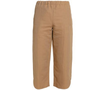 Cropped cotton and linen-blend twill straight-leg pants