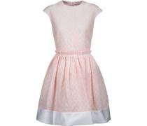 Satin-trimmed cotton-blend seersucker mini dress